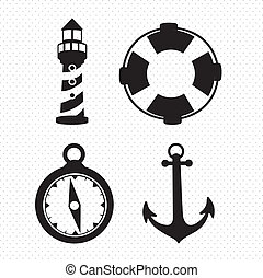 offshore Icons - Illustration of icons offshore, anchor,...