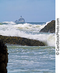 "Offshore lighthouse on the Oregon Coast nicknamed ""Terrible Tilly"""