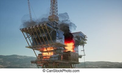 offshore oil and gas fire case or emergency case