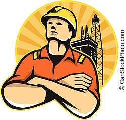 Offshore Oil and Gas Worker Rig Retro - Illustration of an ...