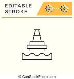 Offshore oil platform line icon