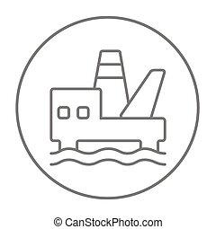 Offshore oil platform line icon.