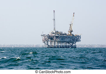 Offshore Oil Platform - Oil rig off the shore of Huntington...