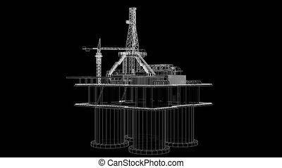 Offshore oil rig drilling platform concept. 3D illustration...