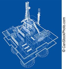 Offshore oil rig drilling platform concept. Vector rendering of 3d. Wire-frame style. The layers of visible and invisible lines are separated