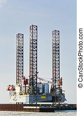 Offshore oil rig drilling platform in Esbjerg, Denmark