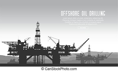 Offshore oil rigs - Offshore oil drilling rigs and tanker in...