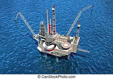 offshore, oilrig, em, a, ocean., 3d