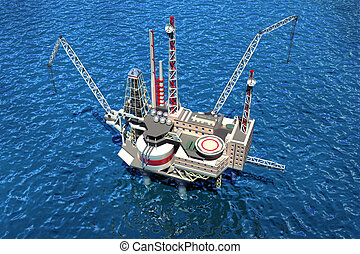 Offshore oilrig in the ocean. 3D image
