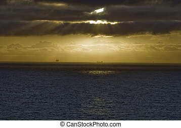 Offshore platform at sunset, north sea norway