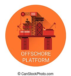 Offshore Platform Icon Flat Vector Illustration
