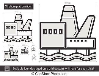 Offshore platform line icon.