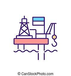 Offshore platform RGB color icon