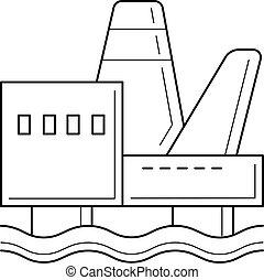 Offshore platform vector line icon.