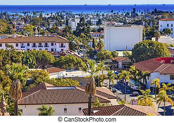 Offshore Platforms Court House Orange Roof Buildings Coastline Main Street Pacific Oecan Santa Barbara California