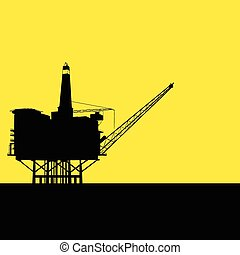 Offshore Refinery - Graphic illustration of offshore...