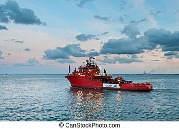 Offshore rescue vessel sailing out - Emergency...