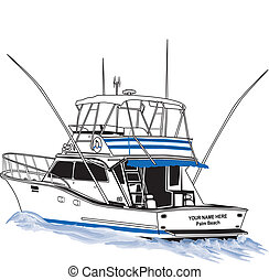 Sport Fishing boat rigged for offshore fishing. Underway