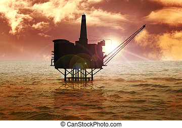 Offshore - Stock image of offshore oil rig