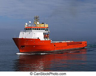 Oil Industry offshore supply vessel underway at sea.