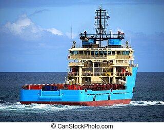 Offshore Supply Ship Stern - Offshore Supply Vessel underway...