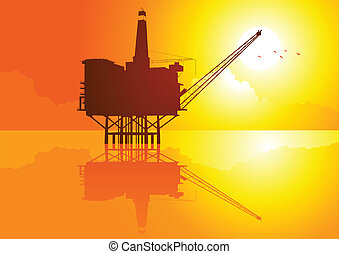 Offshore - Vector illustration of offshore refinery