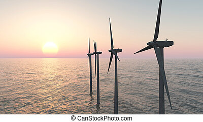 Offshore wind farm at sunset - Computer generated 3D...