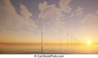 Offshore Wind farm sunset sea 4k