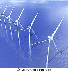 Offshore Wind Turbines - Digital Illustration of an offshore...