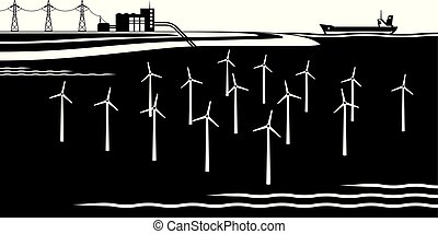 Offshore wind turbines farm