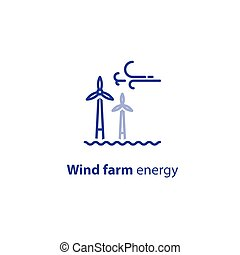 Offshore wind turbines line icon, green energy concept logo