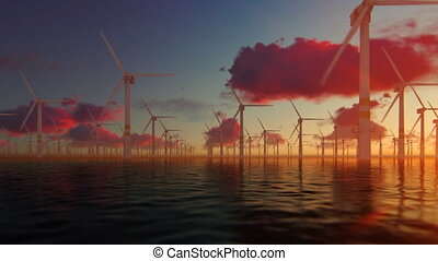 Offshore windmills against beautiful sunrise, panning