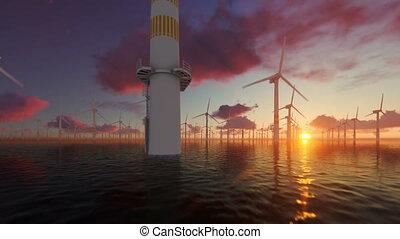 Offshore windmills against beautiful sunset, flight oversea,...