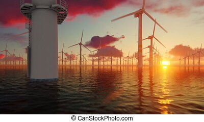 Offshore windmills against beautiful sunset, flight oversea