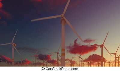 Offshore windmills against beautiful sunset