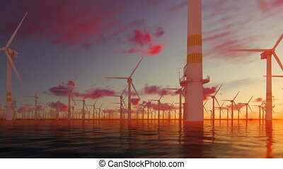 Offshore windmills with technician boat against beautiful...