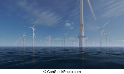 Offshore windmills with technician boat against morning...