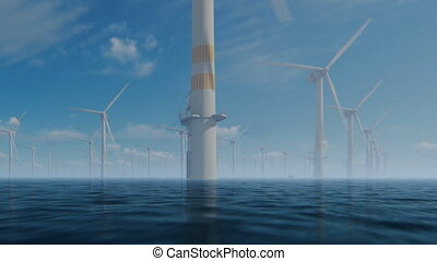 Offshore windmills with technician boat against morning mist
