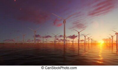 Offshore windmills with technician boat at sunset, panning,...