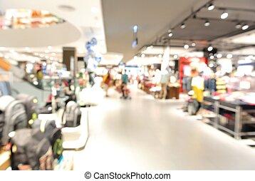 offuscamento, fondo, con, bokeh, luce, di, grande magazzino