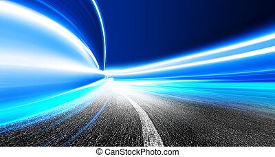 offuscamento movimento, in, futuristico, tunnel