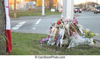 oficerowie, kwiaty, marka, policja, śmierć