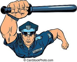 oficial, batuta, polícia