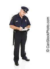 oficial de policía, -, citación, cuerpo lleno