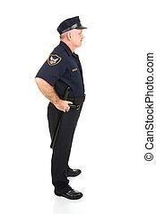 oficial de policía, cuerpo lleno, perfil