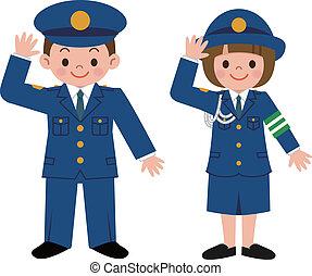 oficial de policía, de, niños