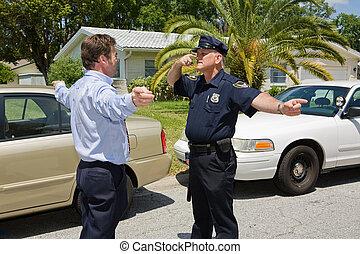 oficial de policía, demuestra