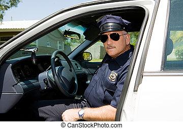 oficial de policía, en, deber
