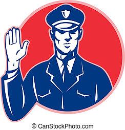 oficial de policía, parada, mano, policía