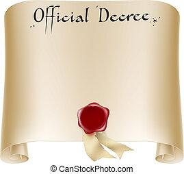 oficial, scroll, certificado